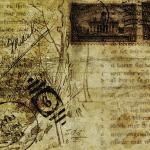 Postkarte aus altem Pergament